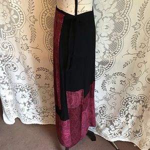 Carole Little Skirts - Vintage-Carole Little, Patchwork Wrap Maxi Skirt